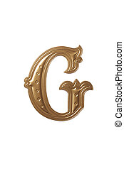 letter g - clipping path of the golden alphabet g