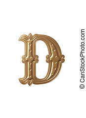 letter d - clipping path of the golden alphabet d
