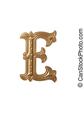 letter e - clipping path of the golden alphabet e