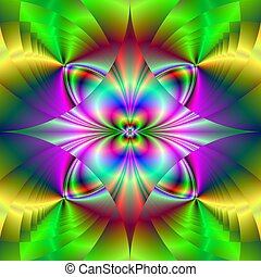 Psychedelic Pattern - Computer generated fractal image with...