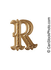 letter r - clipping path of the golden alphabet r