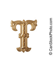 letter t - clipping path of the golden alphabet t