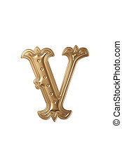 letter v - clipping path of the golden alphabet v