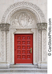 Arch stone door with beautiful pattern in New York City...