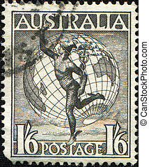 Hermes and Globe - AUSTRALIA - CIRCA 1948: A Stamp printed...