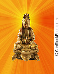 Golden Guanyin - Gold Guanyin Goddess of mercy statue