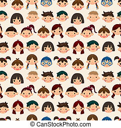seamless child face pattern