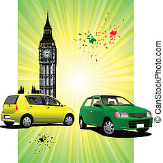 London Poster  with two cars image