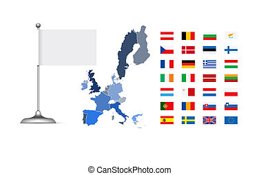 European Union Map and Flag with empty blank flag