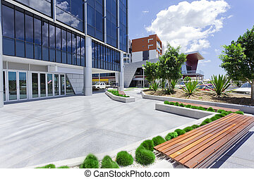 Forecourt of Modern Corporate Building with bench
