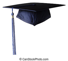 Graduation Cap with white and blue tassel