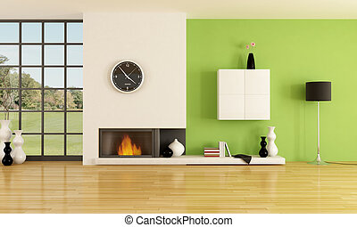 minimalist fireplace - empty contemporary interior with...