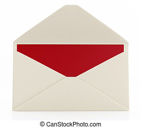 Open envelope with message card - Open envelope with red...