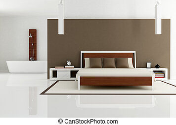 brown bedroom with fashion bathtub - contemporary bedroom...