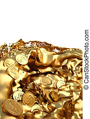 coins - Gold coins in the flow of molten gold. isolated on...