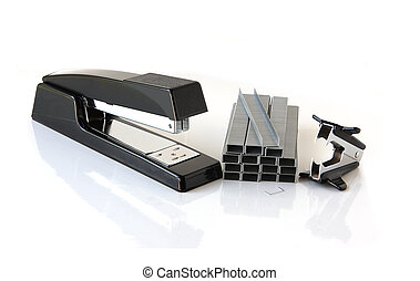 Stapler and Remover - Stapler, staples strips and remover on...