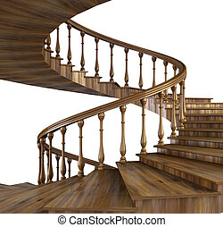 staircase - spiral wooden staircase.