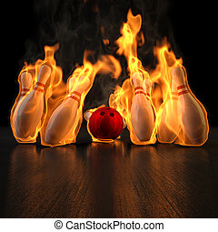 bowling - red bowling ball knocks down flaming skittles 3d...