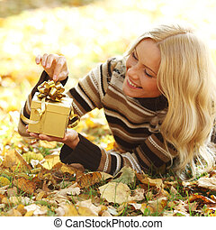 woman take autumn gift