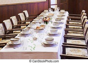 Tables set for dinner