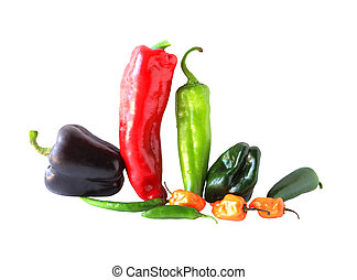 Hot peppers - Varieties chile peppers isolated on white