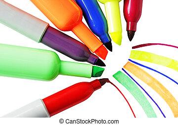 Marker hi-lite - Six Hi-lite markers isolated on white...