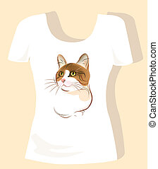 t-shirt design  with ginger cat