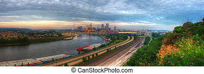 Cityscape panorama of St Paul Minnesota in hdr