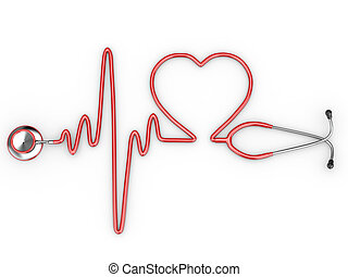 Stethoscope and a silhouette of the heart and ECG 3d