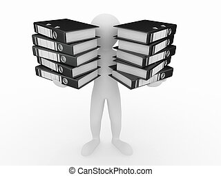 Men with folders on white isolated background. 3d