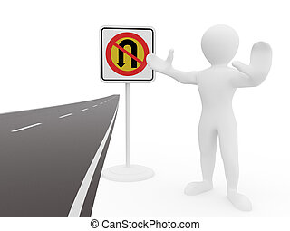 men with No U Turn road sign