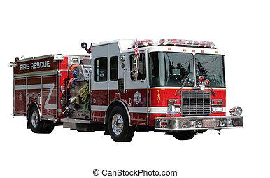 fuego, rescate, camión