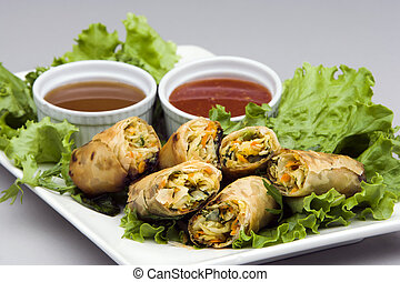 Spring Rolls appetizer - Vegetarian Spring Rolls on a bed of...