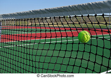 Yellow Tennis Ball Hitting the Net - A Service Fault, Yellow...