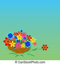 Basket of multi-colored flowers on a green background