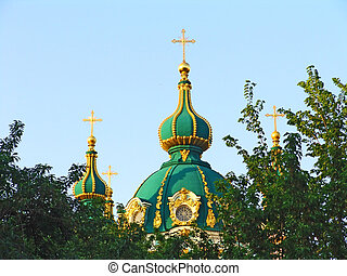 church 3 - Orthodox church with green dome and golden...