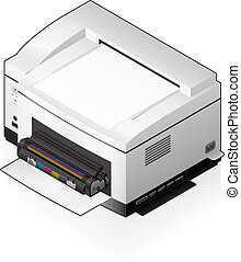 LaserJet Printer - 3D Isometric Medium Home Color Photo...