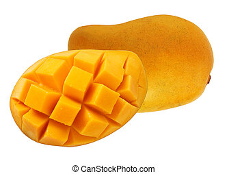 Yellow Mango - Yellow mango with cube cut