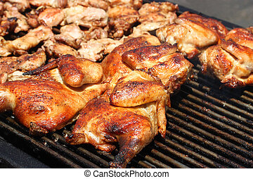 Barbeque Chicken - Grilled barbecue chicken on open grill