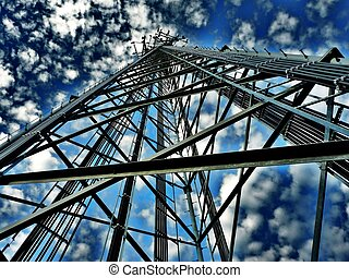 Big Sky Tower - Communication Tower with a bright blue and...