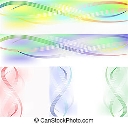 Set of banners from striped wavy lines