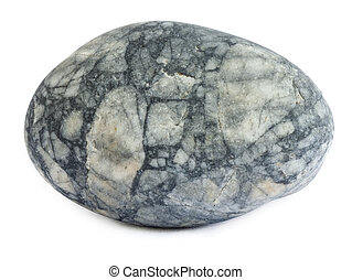 Egg shaped breccia, with white or light grey rock fragments...