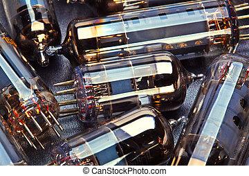 history old electronic radio tube close-up
