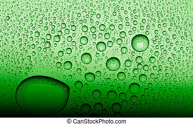 water droplets on a green surface
