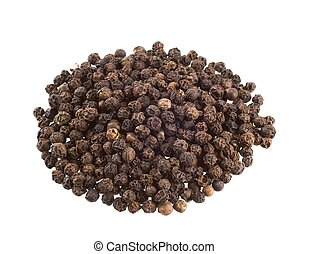 Black peppercorns - Heap of black peppercorns isolated on...