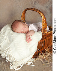 Basket with a baby