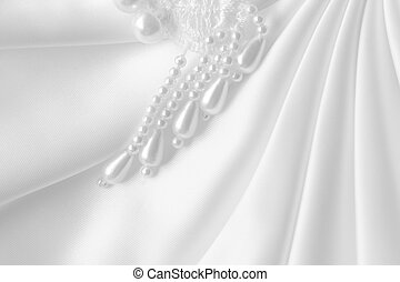 Satin and pearls - White Satin and pearls for abstract...