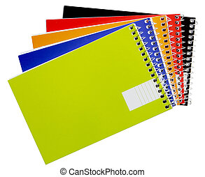 Notepads - Five color notepads isolated on white background