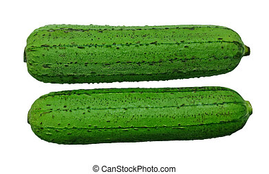 Edible Luffa Fruit - Two edible luffa fruits isolated on...