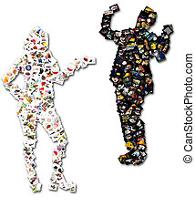 collage men and women - Collage in the shape of a man and a...